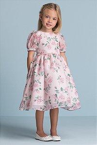 Vestido Chiffon Toque de Seda Sublimada Rapport Rosas Ref:31008
