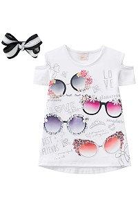 Camisa Estampada Detalhe no ombro com Laço INFANTI ref.39007
