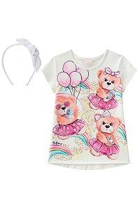 Camisa Estampada Ursos Detalhe em Strass com Tiara INFANTI ref.39009