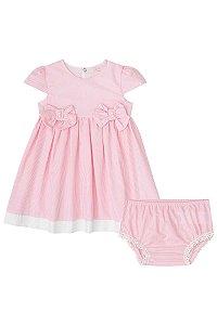Vestido Manga Curta Listrado com Perolas INFANTI ref. 39086