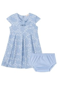 Vestido Manga Curta Estampado Rosas com Calcinha em Strass INFANTI ref. 39079