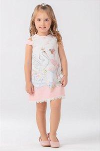 Vestido Estampado Flamingo com Cristais  PETIT CHERIE ref. 31110