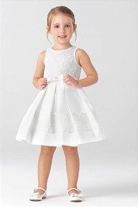 Vestido Off White com Faixa em Renda e Laço com Aplicações de Perolas PETIT CHERIE ref. 31282