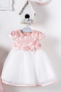 Vestido de Renda Importada com Tule e Laço com Aplicações de Perolas PETIT CHERIE ref. 31020