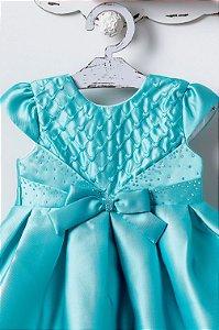 Vestido Azul Tiffany com Cristais e Laço PETIT CHERIE ref. 31044