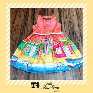 Vestido Manga Curta Estampado Praias Brasileiras com Cinto MON SUCRÉ ref. 31152