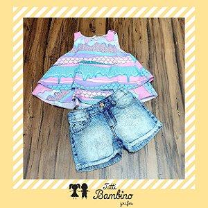 Conjunto Camiseta Regata e Shorts Jeans MON SUCRÉ ref. 80110