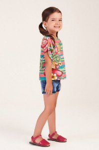 Conjunto Camisa Manga Curta Estampada Frutas e Shorts Jeans MON SUCRÉ ref. 80002