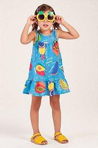 Vestido Manga Curta Estampado Frutas com Sininho MON SUCRÉ ref. 31028