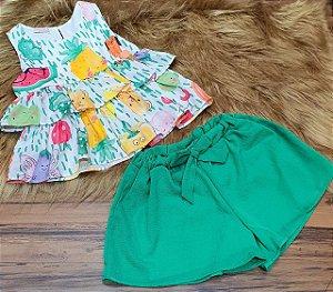 Conjunto Camisa Manga Curta com Babado e Shorts  MON SUCRÉ ref. 80188
