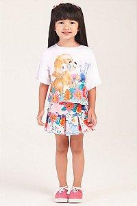 Conjunto Camisa Estampada e Saia Floral MON SUCRÉ ref. 80094
