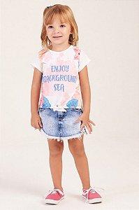 Camiseta Manga Curta Estampada com Nó MON SUCRÉ ref. 24090