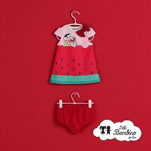 Vestido Magali com calcinha Bebê Turma da Mônica Ref : 218018002