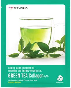 Máscara Facial Hidratante Wizyoung Green Tea Collagen Essence Mask Pack - SISI