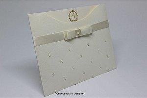 Pacote de 10 Convites de Casamento Modelo Ilha das Andorinhas com pérolas