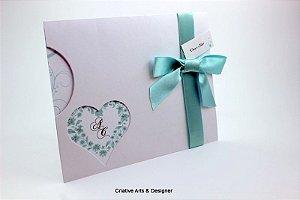 Pacote de 10 Convites de Casamento Modelo Coração e Lua Direto