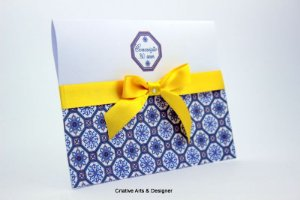 Pacote de 10 Convites de Aniversário e Bodas Modelo azulejo azul Portugal