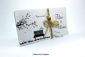 Pacote de 10 Convites de Casamento Modelo Banquinho com acabamento Rústico