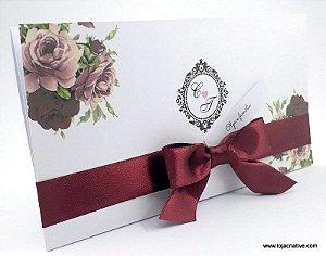 Pacote de 10 Convites de Casamento floral marsala com rosa chá