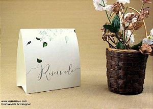 Pacote de 10 Reservas de mesa com a escrita Reservado com uma arte em folhas
