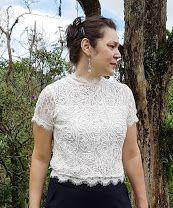Blusa Cropped Renda Branca