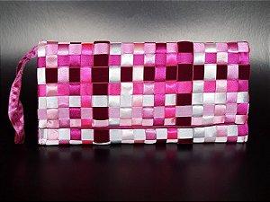 Carteira fita veludo rosa