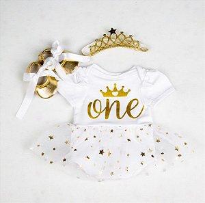 Kit Roupa Boneca Bebê reborn, recém nascido, 3 itens com coroa