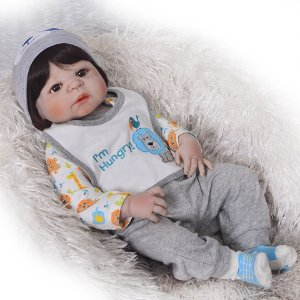 Bebê Reborn menino, 100% Silicone, 57cm