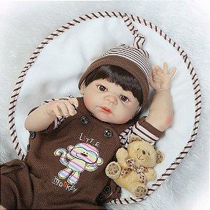 Bebê Reborn menino 100% Silicone, 57cm