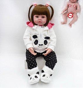 Bebê Reborn 100% Silicone, menina, pandinha, pode darBanho, 48cm