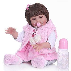 Bebê Reborn 100% Silicone, menina, pode darBanho, 48cm