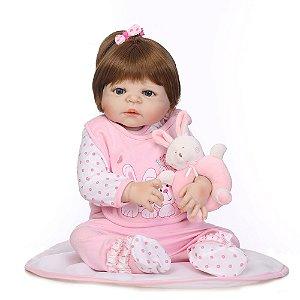 Bebê Reborn 100% Silicone, menina, coelhinho, 57cm