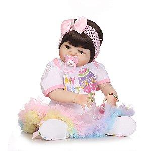 Bebê Reborn 100% Silicone, menina, pode darBanho, 57cm