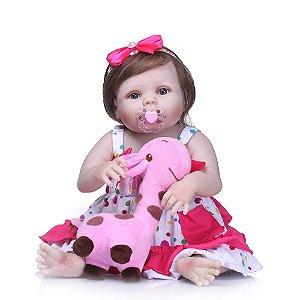 Bebê Reborn 100% Silicone, menina, cabelo implantado, girafinha, 57cm