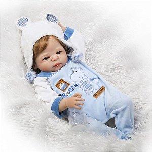 Bebê Reborn 100% Silicone, menino, cabelo implantado, 57cm