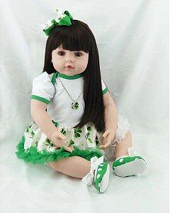 Bebê Reborn cabelo comprido 60cm trevo