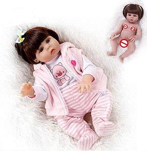 Bebê Reborn 100% Silicone , menina, pode dar banho, roupa porquinha 48cm