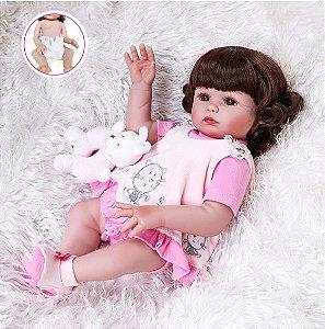 Bebê Reborn 100% Silicone , menina, pode darBanho 48cm
