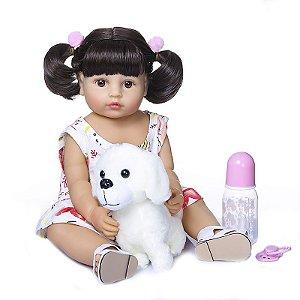 Bebê Reborn 100% silicone , 55cm,  Menina, cachorrinho, Pode darBanho