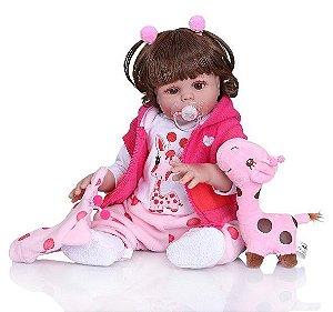 Bebê Reborn 100% Silicone , menina, girafinha, pode darBanho, 48cm