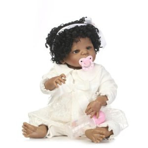 Bebê reborn menina negra 100% silicone  58cm