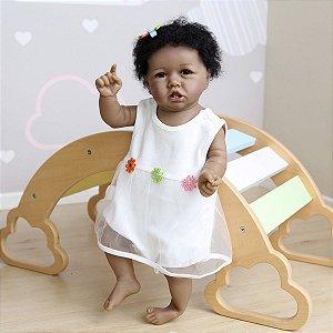 Bebê reborn menina negra 100% silicone , cabelo implantado,  56cm