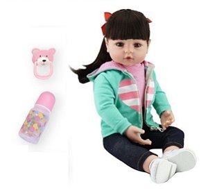 Bebê reborn silicone 48cm/55cm cabelo comprido roupinha de coração