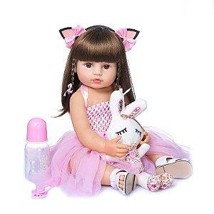 [Pronta Entrega] Bebê reborn  coelhinho, cabelo comprido, 100% silicone  55cm