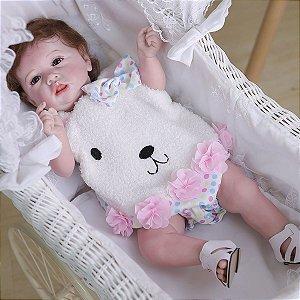 Bebê reborn realista,  coelho, cabelo enraizado, 100% silicone  55cm