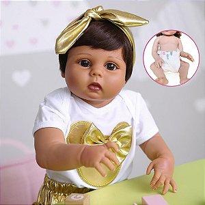Bebê reborn morena, 100% silicone  55cm