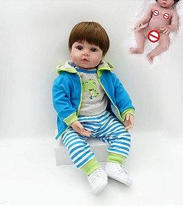Bebê Reborn 100% Silicone, menino,  jacarezinho, pode dar banho, 48cm/55cm