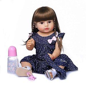 Bebê reborn 100% silicone Antonella cabelo comprido pode dar banho 55cm
