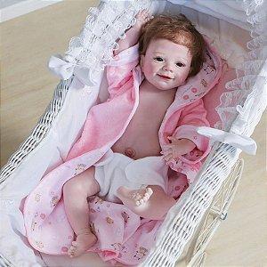 Bebê reborn 100% silicone menina recém nascido, pintura à mão, cabelo enraizado  55cm