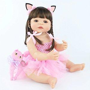 Pronta Entrega -Bebê reborn betina Brasil 100% silicone cabelo comprido  gatinha 55cm